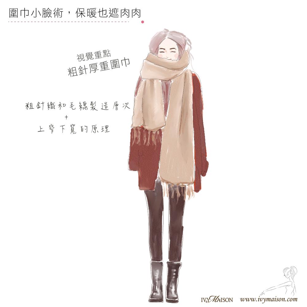 圍巾小臉術,保暖也遮肉肉-材質